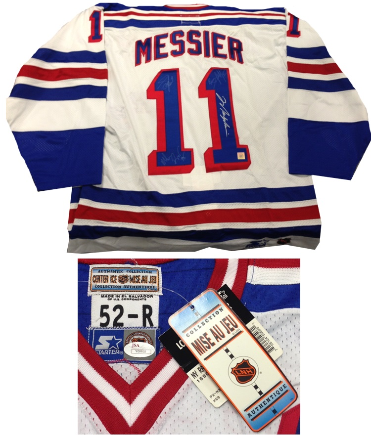1994 New York RangersMark Messier, Brian Leetch, Richter & Graves Autograph Sports Memorabilia from Sports Memorabilia On Main Street, sportsonmainstreet.com